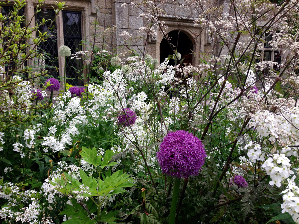 Devon garden design. Arts and Crafts manor, front courtyard in bloom.